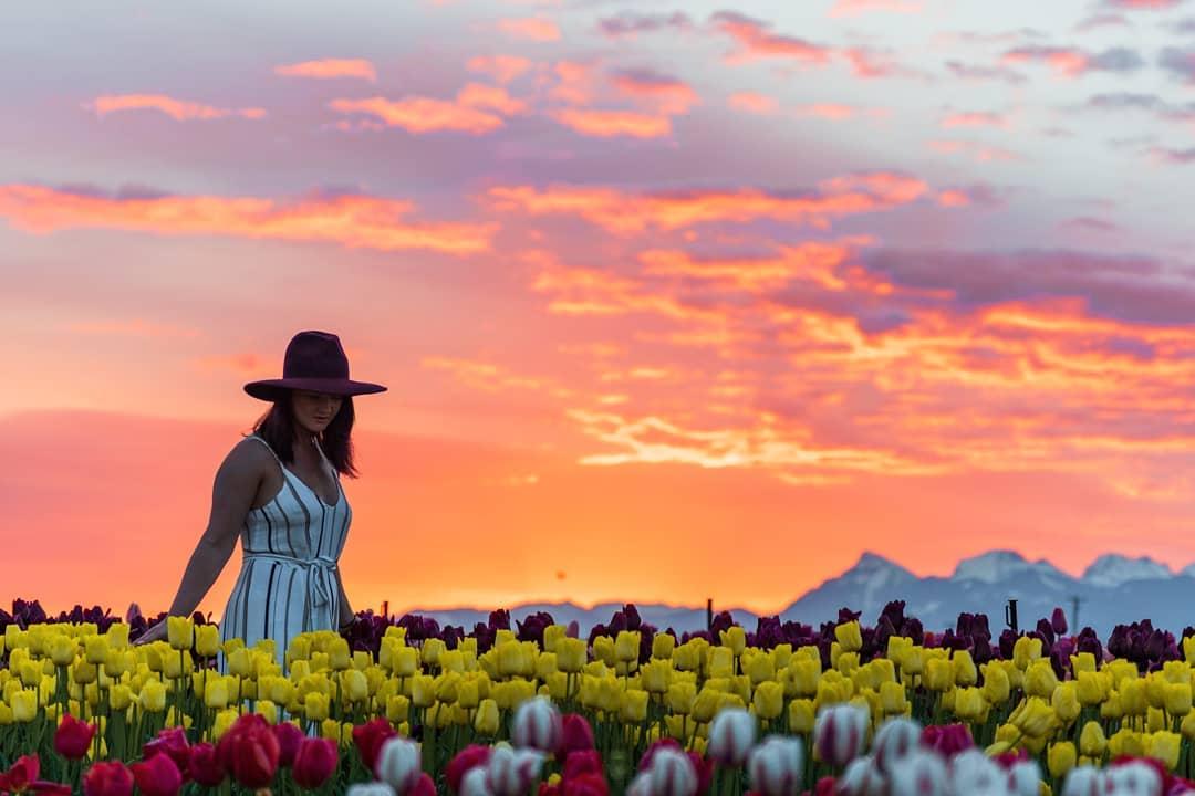Girl walks through flowers at the Chilliwack Tulip Festival